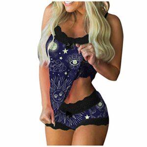 YHIIen Pyjama Femmes Ensemble en Dentelle,Vetement de Nuit Sexy Pyjama Femme Imprimé sans Manches Gilet Sexy Casual Shorts Plage Femme Camisole Vêtements de Nuit