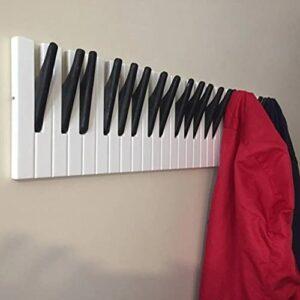 ZMME Piano Wooden Coat Racks Piano Keys Wall Mounted Hook Hanger Decors Storage Shelf (30cm)
