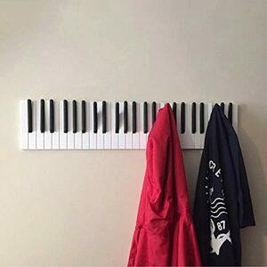 ZMME Piano Wooden Coat Racks Piano Keys Wall Mounted Hook Hanger Decors Storage Shelf (40CM)