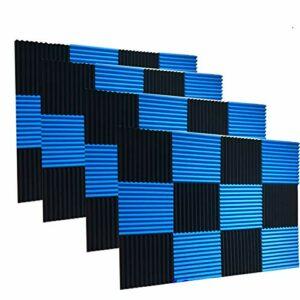 48 pièces de mousse acoustique pour studio. Panneaux muraux de 2,5 x 30,5 x 30,5 cm 1″ x 12″ x 12″ bleu/noir