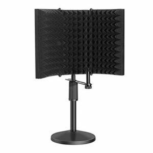AGPTEK Bouclier d'isolation de microphone avec support de micro portatif, réflecteur en mousse insonorisant le micro pour enregistrements ambiants, podcasts, voix, chant et émissions de radio