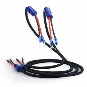 Audiocrast SC003 Lot de 2 câbles d'enceinte haut de gamme 5N OFC Section conducteur interne 2 x 3 mm² 8 fiches à fourche plaquées rhodium Bleu 1 paire avec séparateur en cuivre pur