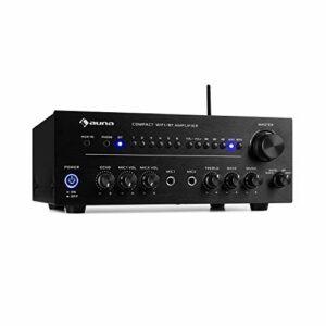 AUNA Intelligence Amp Amplificateur stéréo – 2 x 40W, Amplificateur WiFi & Bluetooth, App-Control, Fonction Multiroom, Spotify, TuneIn, Tidal, Napster, iHeartRadio et Plus, 2 entrées AUX, Noir
