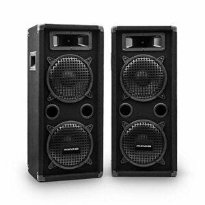 AUNA Pro PW – Enceintes de Sono Passive, 2 x subwoofer de 20,3 cm (8″), Médium à pavillon, 2 x tweeters piézo, Deux Enceintes 3 Voies, Noir, 400W RMS / 800 Wmax