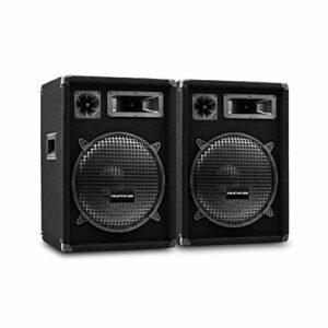 AUNA Pro PW MKII – Enceintes de Sono passives, Lot de 2, Conception 3 Voies, Tweeter piézo, Caisson de Basses de 30,5 cm (12″), capacité de Charge: 300W RMS / 600 Wmax – Noir