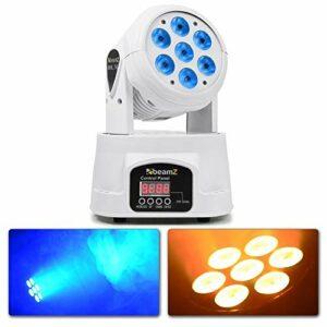 Beamz MHL74 White Mini Lyre Wash – 7X LED RGBW LED 10W, Strobe Couleur, Modes DMX et Stand Alone, fonctionnalité Maitre/Esclave, Pan : 540°, Tilt : 180°, idéal pour la scène, Bar, boîte de Nuit