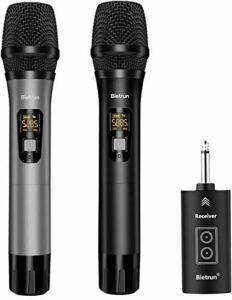 Bietrun Micro sans fil UHF – Portée : 50 m – Système de microphone sans fil Bluetooth pour écouter de la musique – 6,35 mm/3,5 mm – Table de mixage – Amplificateur de karaoké – Pour les fêtes