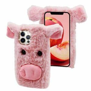 CESTOR Fourrure Coque pour OnePlus Nord N200 5G,Mignon 3D Porc Animal Velu Peluche Étui de Protection Hiver Chaud Souple Silicone TPU Anti-Choc Housse avec Brillant Strass,Rose