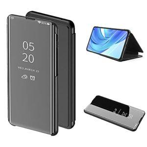 Cestor Mirror Etui à Rabat pour Xiaomi Mi 11 5G,Metal Placage électrolytique Plaque Smart Clear Vue intelligente Kickstand Coque Housse de Protection Cover,Noir
