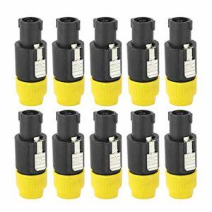 Connecteur de câble audio, prise de connecteur de câble Speakon Câblage rapide 6~15mm étanche pour connecter un haut-parleur pour haut-parleur(yellow)
