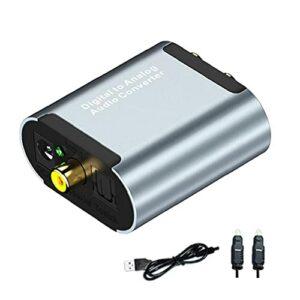 Convertisseur audio numérique à analogique Toslink optique sur RCA L/R avec câble optique 3.5mm Jack Converter Compatible avec PS4 Xbox TV DVD