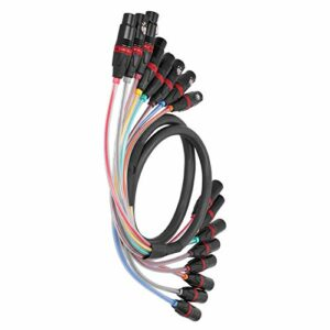 CUTULAMO Câble Audio, 8 canaux 1,5 m Câble Audio stéréo en PVC Souple et Durable pour Table de mixage pour amplificateur de Puissance
