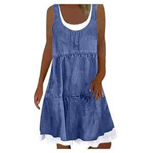Dasongff Robe d'été pour femme – Midi – Sans manches – Longueur genoux – Boho – Ligne A – Col en U – Décontractée – Mini robe de plage – Imprimé floral – Longueur genou.