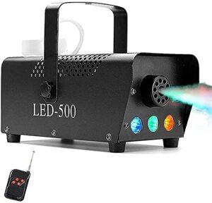 Feeyond Halloween Brouillard Machine,500W LED avec Lumières sans Fil Distance Contrôler,Énorme Brouillard 2000 CFM Fumée Brouillard Machine pour des soirées Mariages Noël