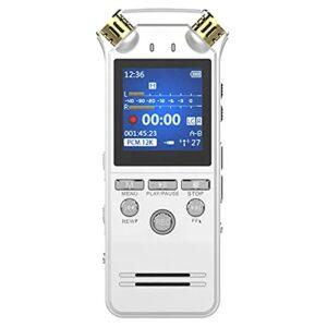 FHJL Enregistreur Professionnel de contrôle de Bruit de Bruit, enregistreurs activés par la Voix numérique 1536Kbps, Lecteur MP3 dictaphone ADC White- 16GB