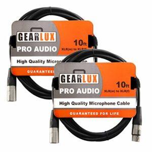 Gearlux 3m câble micro XLR mâle vers femelle Packs – 2-Pack