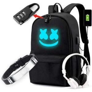 Jianger Sac à dos avec portecharge USB Serrure de sécurité Port de sécurité DJ Bracelet, DayPack de mode Unisexe DJ DJ DJ Music Sac à dos pour ordinateur portable, noir, grand
