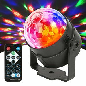 JYX Lumière Dicso activée par le son avec contrôle à distance, lampe DJ USB, boule disco, lampe stroboscopique 7 modes d'éclairage pour la maison, les fêtes, les anniversaires, les karaokés DJ.