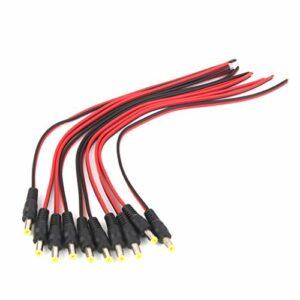 LIHENG 10 câbles d'alimentation 12 V CC mâle Pigtail 5,5 x 2,1 mm