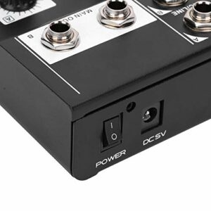 Mélangeur audio, mélangeur audio stéréo durable Volume 5 canaux et volume 2 canaux de sortie avec patin antidérapant pour la parole pour la fête