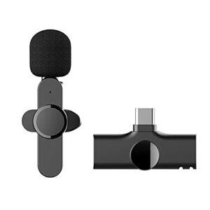Microphone cravate sans fil Plug-Play pour téléphone USB de type C,mini microphone sans fil pour enregistrement,diffusion en direct YouTube Facebook, Vlog,réduction du bruit,AUCUNE APP ou Bluetooth