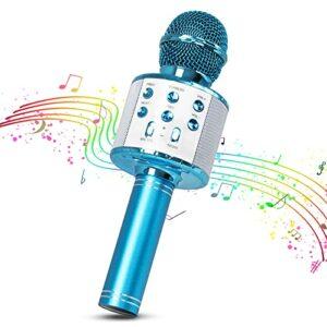 Microphone Karaoke Sans Fil, MOPOIN 4 en 1 Micro Bluetooth Karaoke Portable avec LED Lumière Disco pour Fête Chanter Idée Cadeau Enfants, Compatible avec Android/IOS/PC/Smartphone (Bleu)