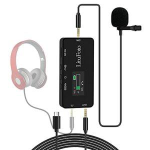 Microphone Lavalier, avec écran TFT, moniteur en temps réel, fonction de lecture, microphone omnidirectionnel 5 m pour PC Gaming/enregistrement d'interview/Podcast/vidéo (Type-C)