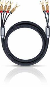 Oehlbach XXL Fusion Four – Ensemble stéréo Haut de Gamme avec câble de Haut-Parleur bi-câblé et connecteur à cosse – Made in Germany – 1 Paire, 2 x 4,5m – Noir
