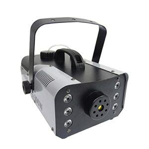 OMKMNOE Machine À Brouillards 6 X 3W RGB 3 IN1 LED 4 Boutons 1L Télécommande DJ Partie RGB LED Fume Foge FOGUE Machine De Fumée Éléments De Scène Éclairage,Blanc