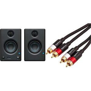 PreSonus Moniteur de Studio Presonus E 3.5, Black & Amazon Basics Câble Audio RCA 2 mâles vers 2 mâles – 2,5 m
