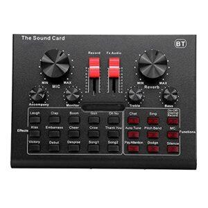QuRRong Console de Mixage Mélangeur Audio Externe Carte De Son D'interface USB avec 15 Modes Sonores Multiples Effets Sonores pour la Diffusion en Direct (Couleur : Black, Size : One Size)