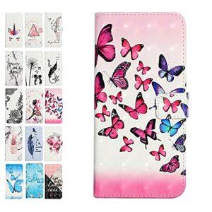 Weby Housse Coque Portefeuille pour Samsung Galaxy A52 4G 5G Motif à Rabat en Cuir Cover Etui Couverture Paillette Fille Femme Homme Flip Case – Papillon Bleu Rose