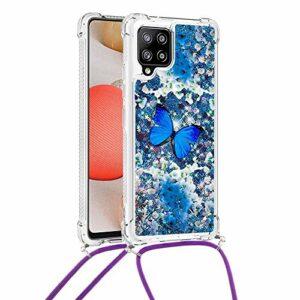 Yewos Compatible avec Coque Samsung Galaxy A42 5G Etui Glitter Quicksands Liquide avec Cordon Collier,Paillette Liquide Bling Flowing Sand Housse Transparent TPU Bumper Antichoc-Papillon Bleu