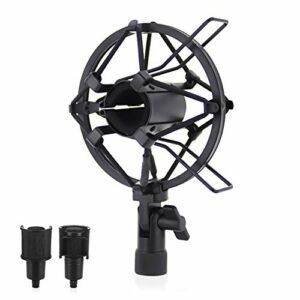 YFOX Support universel pour microphone 50 mm – Support d'amortisseur élastique en métal – Pour microphone à condensateur d'un diamètre de 50 à 60 mm (noir).