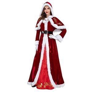 Briskorry Costume de Noël pour femme – Robe avec capuche – Ceinture – Gant – Cape rouge – Robe rétro longue – Costume de Père Noël – Accessoires, rouge, L