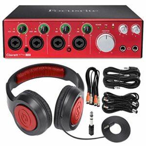 Focusrite Clarett 4Pre USB Interface audio USB 18 x 6 avec écouteurs, câbles et chiffon en microfibre