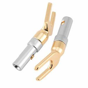 FOLOSAFENAR U Fork Y Spade Plug, Type Prise Banane sans Soudure avec Taille de Fil jusqu'à 4 mm pour la Maison pour Haut-Parleur