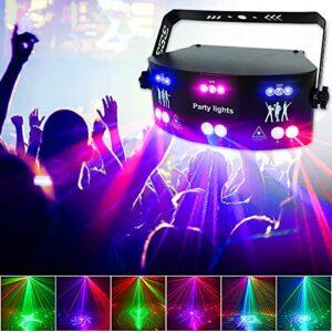 HWHSZ LumièRe Disco Professionnelle Rvb à 15 Yeux, Lampe LED UV Violette, LumièRe Stroboscopique, LumièRes De ScèNe, DMX/TéLéCommande, pour DJ Club Ktv Bar FêTe d'anniversaire De Mariage