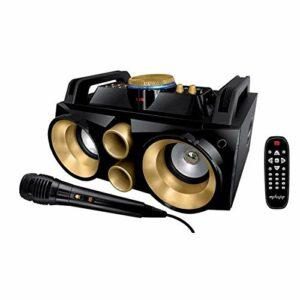 My deejay Enceinte Amplifiée Nomad 300 Gold/Micro Filaire/télécommande/2 boomers 10 Pouces Noir/Or