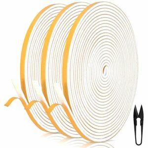 RATEL Mousse Bande de Joint D'étanchéité en Caoutchouc 6 mm (l) * 3 mm (H) * 18 m (L) Avec des Ciseaux * 1,Bandes de Joint Auto-adhésives Preuve de collision pour Fenêtre de Porte (Blanc)