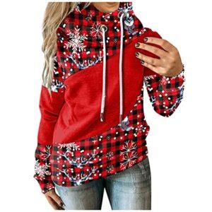Zldhxyf Pull à capuche à manches longues et col roulé pour femme – Motif patchwork – Couleur contrastée, rouge, L