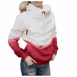 Zldhxyf Pull à capuche pour femme – Dégradé de couleurs – Décontracté – Col patchwork – Pull à capuche – Décontracté – Col roulé – Sport – Automne, rouge, M