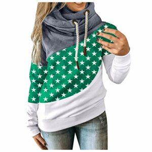 Zldhxyf Pull à capuche pour femme et fille – Couleur contrastée – Pull décontracté – Col roulé, vert, XXXL