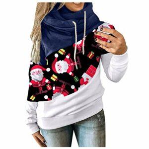 Zldhxyf Pull coloré pour femme et fille – Pull de Noël à capuche décontracté à col roulé – Sport – Automne de Noël – Pull à capuche – T-shirt à manches longues, bleu, L